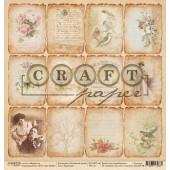 Лист бумаги для скрапбукинга CraftPaper КАРТОЧКИ коллекция Семейный альбом 30х30см