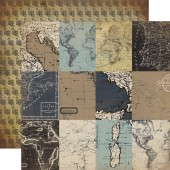 Лист бумаги для скрапбукинга Carta Bella КАРТОЧКИ ДЛЯ ЖУРНАЛИНГА коллекция Old World Travel 30х30см