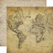 Лист бумаги для скрапбукинга Carta Bella КАРТА МИРА коллекция Old World Travel 30х30см