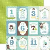 Лист бумаги для скрапбукинга Echo Park MONTH CARDS коллекция Sweet Baby Boy 30х30см
