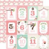 Лист бумаги для скрапбукинга Echo Park MONTH CARDS коллекция Sweet Baby Girl 30х30см
