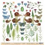Лист бумаги для скрапбукинга EcoPaper ЖИТЕЛИ ЛУГА коллекция Среди Лугов 30х30см