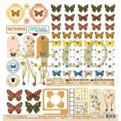 Лист бумаги для скрапбукинга EcoPaper ВОСПОМИНАНИЯ коллекция Атлас Бабочек 30х30см