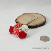 Цветы бумажные мальбери ГВОЗДИКИ красные розовые и белые микс