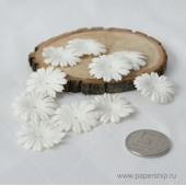Цветы бумажные мальбери МАРГАРИТКИ БЕЛЫЕ 2,5см