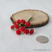 Цветы бумажные мальбери РОЗЫ КРАСНЫЕ 1см