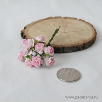 Цветы бумажные мальбери РОЗЫ РОЗОВЫЕ 1см