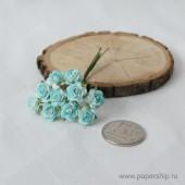 Цветы бумажные мальбери РОЗЫ ГОЛУБЫЕ 1см