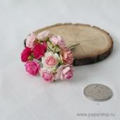 Цветы бумажные мальбери РОЗЫ КУДРЯВЫЕ РОЗОВЫЕ МИКС 1,5см