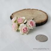 Цветы бумажные мальбери РОЗЫ КУДРЯВЫЕ БЕЛО-РОЗОВЫЕ 2,5см
