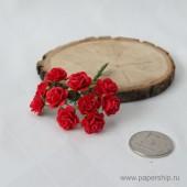 Цветы бумажные мальбери РОЗЫ КРАСНЫЕ 1,5см