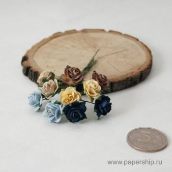 Цветы бумажные мальбери РОЗЫ КЛАССИЧЕСКИЕ МИКС 1,5см