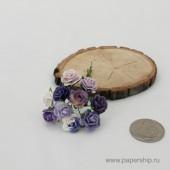 Цветы бумажные мальбери РОЗЫ ФИОЛЕТОВЫЕ МИКС 1,5см