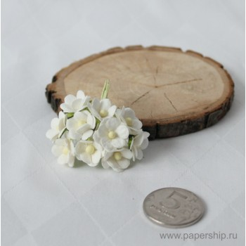 Цветы бумажные мальбери ЛЮТИКИ БЕЛЫЕ 1,5см