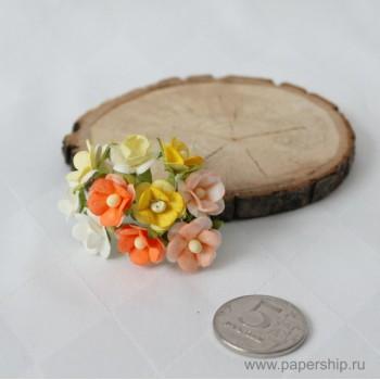Цветы бумажные мальбери ЛЮТИКИ ОРАНЖЕВЫЕ МИКС 1,5см