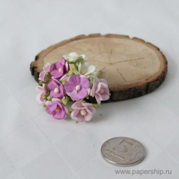 Цветы бумажные мальбери ЛЮТИКИ ФИОЛЕТОВЫЕ МИКС 1,5см