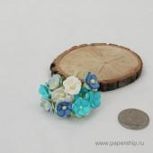 Цветы бумажные мальбери ЛЮТИКИ СИНИЕ МИКС 1,5см