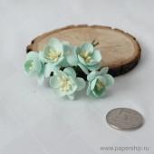 Цветы бумажные мальбери ЦВЕТЫ ВИШНИ МЯТНЫЕ 2,5см