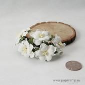 Цветы бумажные мальбери ДВУХСЛОЙНЫЕ ЦВЕТОЧКИ БЕЛЫЕ 4см