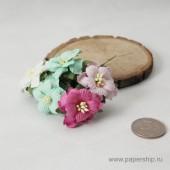Цветы бумажные мальбери ДВУХСЛОЙНЫЕ ЦВЕТОЧКИ МЯТНЫЕ И РОЗОВЫЕ МИКС 4см