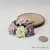 Цветы бумажные мальбери ДВУХСЛОЙНЫЕ ЦВЕТОЧКИ СИРЕНЕВЫЕ И ЗЕЛЕНЫЕ МИКС 4см