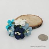 Цветы бумажные мальбери ДВУХСЛОЙНЫЕ ЦВЕТОЧКИ СИНИЕ МИКС 4см