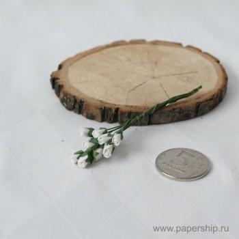 Цветы бумажные мальбери МИКРО-БУТОНЫ РОЗ БЕЛЫЕ