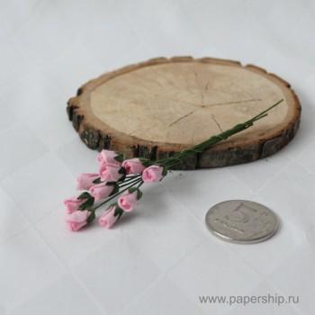 Цветы бумажные мальбери МИНИ-БУТОНЫ РОЗ РОЗОВЫЕ