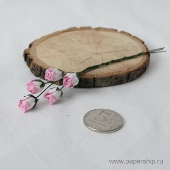 Цветы бумажные мальбери БУТОНЫ РОЗ РОЗОВЫЕ 1см