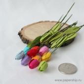 Цветы бумажные мальбери ТЮЛЬПАНЫ РАДУГА МИКС 1,25см