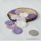 Цветы бумажные мальбери МАРГАРИТКИ ФИОЛЕТОВЫЕ МИКС 2,5см