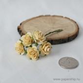Цветы бумажные мальбери РОЗЫ КРЕМОВЫЕ 2см