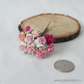 Цветы бумажные мальбери РОЗЫ РОЗОВЫЕ МИКС 1,5см