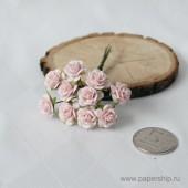 Цветы бумажные мальбери РОЗЫ РОЗОВЫЕ 1,5см