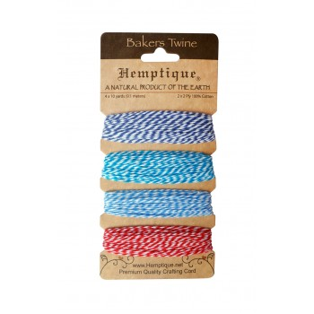 Набор шнуров из хлопка Hemptique BAKERS TWINE синий и красный