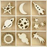 Набор деревянных украшений Kaisercraft STAR AND MOON