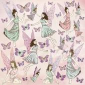 Лист бумаги с глиттером для скрапбукинга Kaisercraft FLUTTERBY коллекция Fairy Garden 30х30см