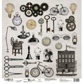 Лист бумаги для скрапбукинга MoNa design КАРТОЧКИ коллекция Мастерская в конце улицы 30х30см