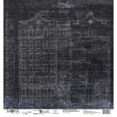 Лист бумаги для скрапбукинга MoNa design ГРАФИТ коллекция Мастерская в конце улицы 30х30см