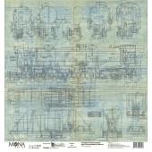 Лист бумаги для скрапбукинга MoNa design МОНОТИПИЯ коллекция Мастерская в конце улицы 30х30см