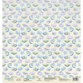 Лист бумаги для скрапбукинга MoNa design SHELLS коллекция Sea Party 30х30см