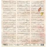 Лист бумаги для скрапбукинга MoNa design МУЗЫКА коллекция Школьная пора 30х30см