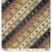 Лист бумаги для скрапбукинга MoNa design ЛИНЕЙКИ коллекция Школьная пора 30х30см