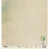 Лист бумаги для скрапбукинга MoNa design ГЕОГРАФИЯ коллекция Школьная пора 30х30см
