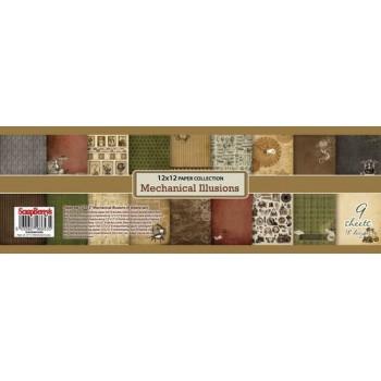Набор бумаги для скрапбукинга Scrapberry's МЕХАНИЧЕСКИЕ ИЛЛЮЗИИ 30х30см