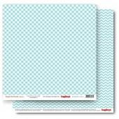 Лист бумаги для скрапбукинга Scrapberry's КЛЕТКА БИРЮЗОВАЯ коллекция Элегантно Просто 30х30см