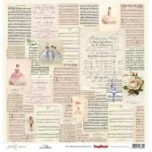 Лист бумаги для скрапбукинга Scrapberry's МУЗЫКА коллекция Джульетта 30х30см