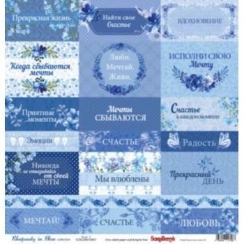 Лист бумаги для скрапбукинга Scrapberry's КАРТОЧКИ 1 коллекция Ноктюрн в голубых тонах 30х30см