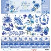 Лист бумаги для скрапбукинга Scrapberry's КАРТОЧКИ 2 коллекция Ноктюрн в голубых тонах 30х30см