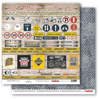 Лист бумаги для скрапбукинга Scrapberry's КАРТОЧКИ 2 коллекция Мужские хобби 30х30см